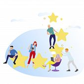 People Give Feedback And Rate Stars. Vector Customer Review. Illustration Star Ranking And Result Vo poster