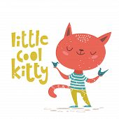 Vector Card Wuth Little Cool Kitty Lettering poster