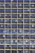 Glass Grey And Blue Square Windows Of Modern City Business Building Skyscraper. Glass Balconies In T poster