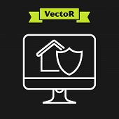 White Line Computer Monitor With House Under Protection Icon Isolated On Black Background. Protectio poster