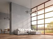 Modern High Ceiling Loft Living And Dining Room 3d Render.the Rooms Have Wooden Floors ,decorate Wit poster
