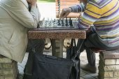 Active Retired People, Old Friends And Free Time, Two Seniors Having Fun And Playing Chess Game At P poster