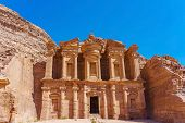 Famous Facade Of Ad Deir In Ancient City Petra, Jordan. Monastery In Ancient City Of Petra. The Temp poster