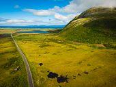 Gimsoya Island Landscape In Vagan Municipality Nordland County, Lofoten Archipelago Norway. Tourist  poster