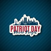 Usa Patriot Day 9/11. New York Skyline Paper Sticker Until September 11, 2001. Vector Illustration. poster