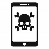 Hacked Smartphone Icon. Simple Illustration Of Hacked Smartphone Vector Icon For Web Design Isolated poster