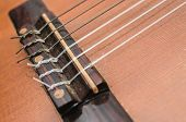 Bridge Of An Acoustic Guitar. Nylon Strings Tied On The Guitar Bridge. Depth Of Field, Details Of An poster