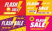 Flash Sale Banner Set. Flat Illustration Of Flash Sale Vector Banner Set For Web Design poster