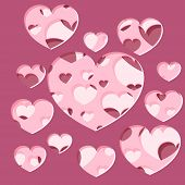 Abstract Generative  Distributed Hearts Holes On A White Background. Vector Illustration Suitable Fo poster