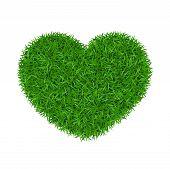 Heart Green Grass 3d. Green Grass Love Land Isolated White Background. Ecology Garden, Heart-shape.  poster