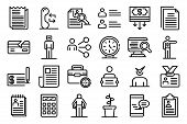 Unemployed Icons Set. Outline Set Of Unemployed Vector Icons For Web Design Isolated On White Backgr poster