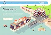 Sea Cruise Travel In Tropical Country By Ship. Summer Vacation Pleasure Voyage Presentation. Text Ba poster