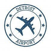 Detroit Airport Logo. Airport Stamp Vector Illustration. Detroit Aerodrome. poster