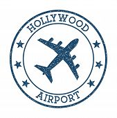 Hollywood Airport Logo. Airport Stamp Vector Illustration. Fort Lauderdale Aerodrome. poster