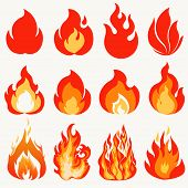 Fire Flame, Modern Flames Collection Symbol Icon Design. Vector poster