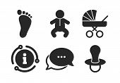 Toddler Boy With Diapers Symbol. Chat, Info Sign. Baby Infants Icons. Buggy And Dummy Signs. Child P poster