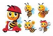 Cartoon Cute Bee Vector Mascot Set. Cartoon Cute Bee Rides Scooter Delivery, Bee Holds A Honey Dippe poster