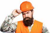 Man Builders, Industry. Portrait Architect Builder, Civil Engineer Working. Builder In Hard Hat, For poster