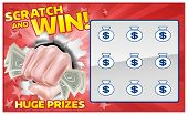 A Lottery Instant Scratch And Win Scratchcard With A Fist Hand Holding Cash Money poster