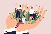 Giant Hands Holding Tiny Office Workers. Concept Of Employee Care, Wellbeing At Work Or Workplace, P poster