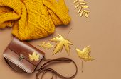 Brown Leather Women Bag, Orange Knitted Sweater, Golden Autumn Leaf On Brown Background Top View Fla poster