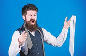 Its Really Cool. Excited Businessman Pointing Finger And Holding Cool Necktie. Bearded Man With Cool poster
