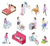 Woman Daily Routine. Housewife Ironing And Shopping, Doing Fitness And Cooking. Female Everyday Life poster