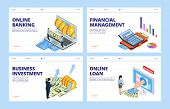 Financial Landing Page. Business And Finance Vector Banners Template, Online Banking, Financial Mana poster