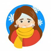Woman With A Chill. Symptom Of Disease poster