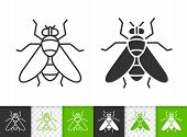 Fly Black Linear And Silhouette Icons. Thin Line Sign Of Insect. Housefly Outline Pictogram Isolated poster