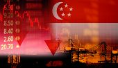 Singapore Stock Exchange Market Trading Graph Business Crisis Red Price Down Chart Fall Finance Econ poster