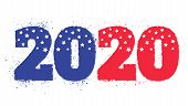 Vector Vintage Greeting Card With 2020 For Christmas And New Year. Election 2020 Like American Flag. poster