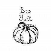 Hand Drawn Vector Pumpkin With Hand Drawn Text, Autumn Halloween Background poster