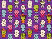 Vector Seamless Pattern With Children In Costumes For Halloween. Pattern With Cute Kids In Halloween poster