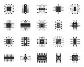 Microchip Silhouette Icons Set. Sign Kit Of Cpu. Microprocessor Pictograms Of Microelectronic, Scien poster