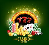 Casino Night Poster, Poker Gambling Cards And Dice. Vector Casino Jackpot Big Win Golden Cash Coins, poster