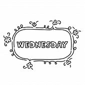 Hand Drawing Black And White Weekly Planner Wednesday Template. Cute Doodle Stationery Organizer And poster