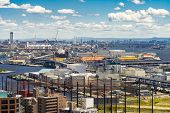 Aerial view kobe cityscape and Port industrial zone in Kobe Hyogo Kansai Japan using for import expo poster