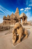picture of mahadev  - King and lion fight statue and Kandariya Mahadev temple - JPG
