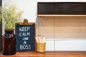 Keep Calm Like A Boss Hand Drawing With Chalk On Blackboard On Working Office Desk. Motivational Cha poster