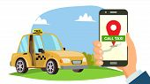 Booking Taxi Via Mobile App . Hand Holding Smartphone. Taxi Ordering Service. Online Mobile Taxi Ord poster