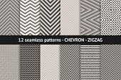 Chevron Pattern Collection. Vector Geometric Seamless Textures With Stripes, Lines, Streaks, Zigzag  poster
