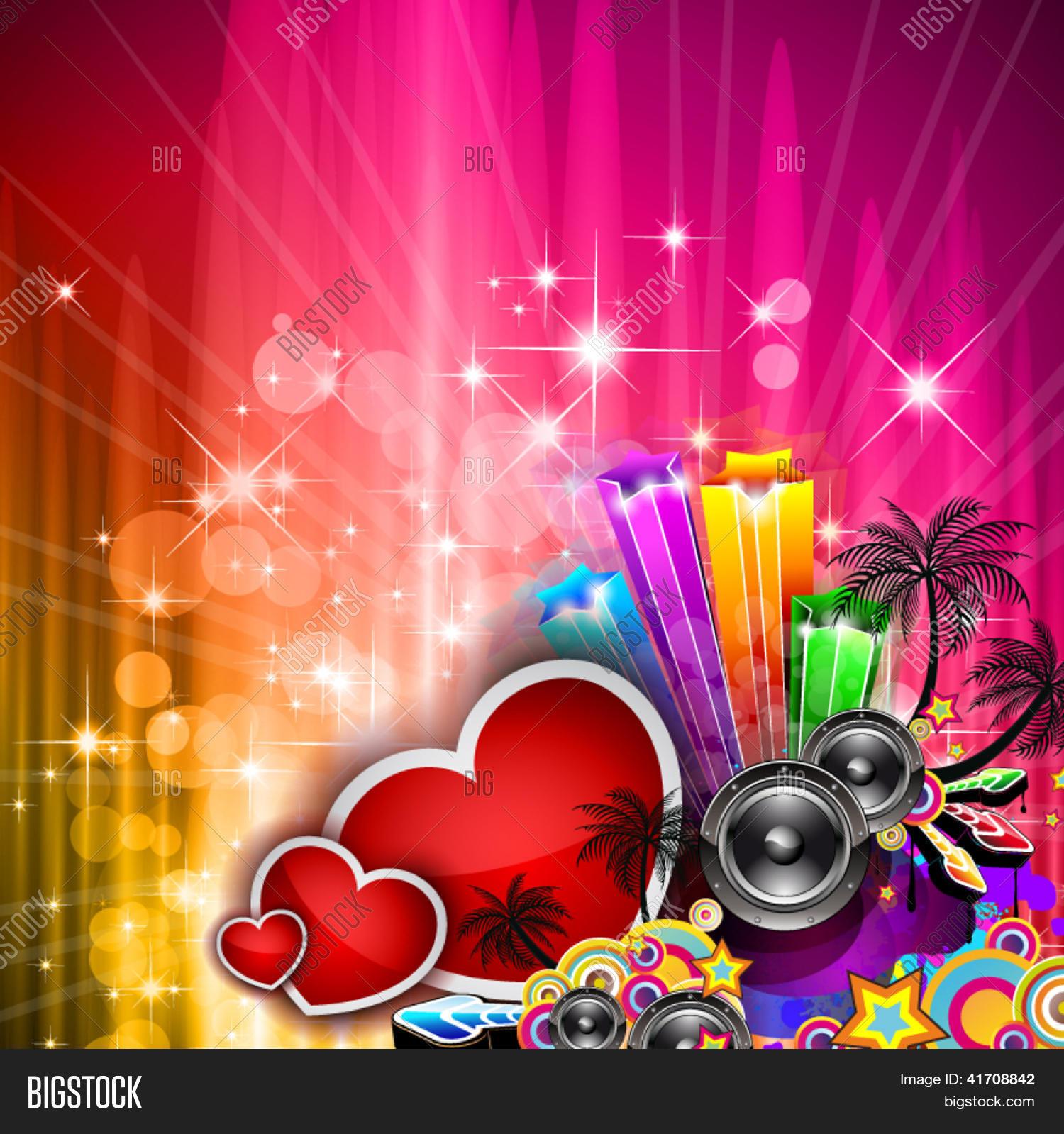 Schön Valentinstag Party Einladung Flyer Hintergrund Mit Liebe Thematische  Elemente. Ideal Für Cover Oder Post