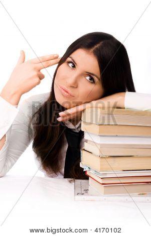 Unhappy Student Doing Homework