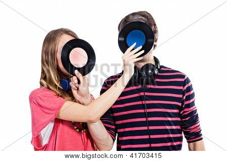 Couple Playing Around With Vinyl Records