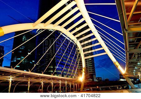 Sky Bridge Connection To Bangkok Rapid Transit Station, Bangkok, Thailand