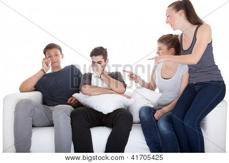 Girls Laughing At Boys While Watching Movie On White Background