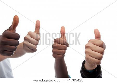 Close Up Of Four Thumbs Up Isolated On White Background