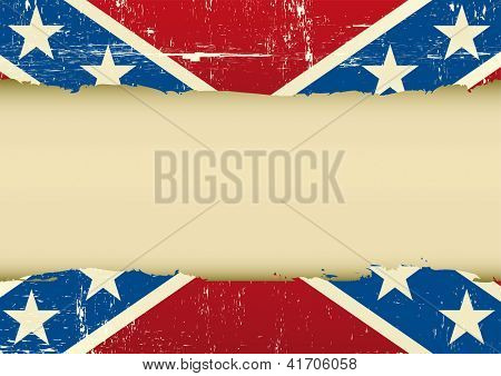 Confederate  scratched flag. Horizontal frame on a confederate grunge Flag for your text