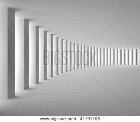 Vacío Interior blanco con columnas grandes y brillantes